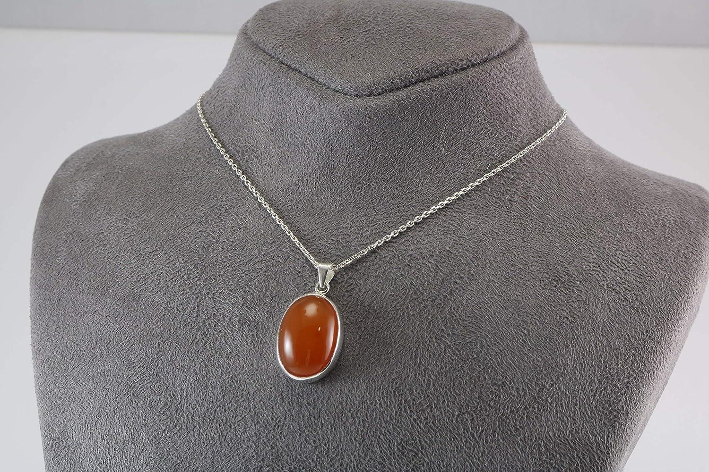 Elegant Jewellery Box Sterling Silver 925 Orange Carnelian Oval Pendant Necklace 40+5cm Chain