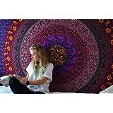 Tenture Murale Hippie Mandala Psychedelic Tapisserie Tissu Mandala Oriental Fleurie Coton Wall Hanging Mandala Mural Par Rajrang