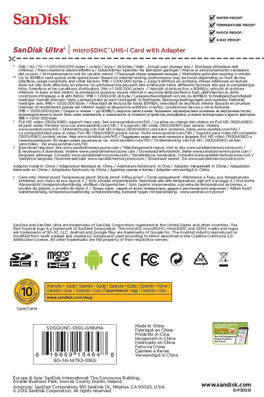 Amazon.com: SanDisk Ultra 16GB Ultra Micro SDHC UHS-I/Class ...