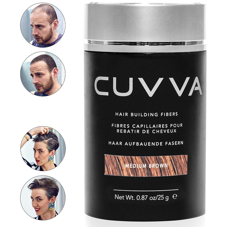 CUVVA Hair Fibers - Hair Loss Concealer for Thinning Hair - Keratin Hair Building Fiber for Men & Women - Instant Thicker Hair - 0.87oz - Light Brown