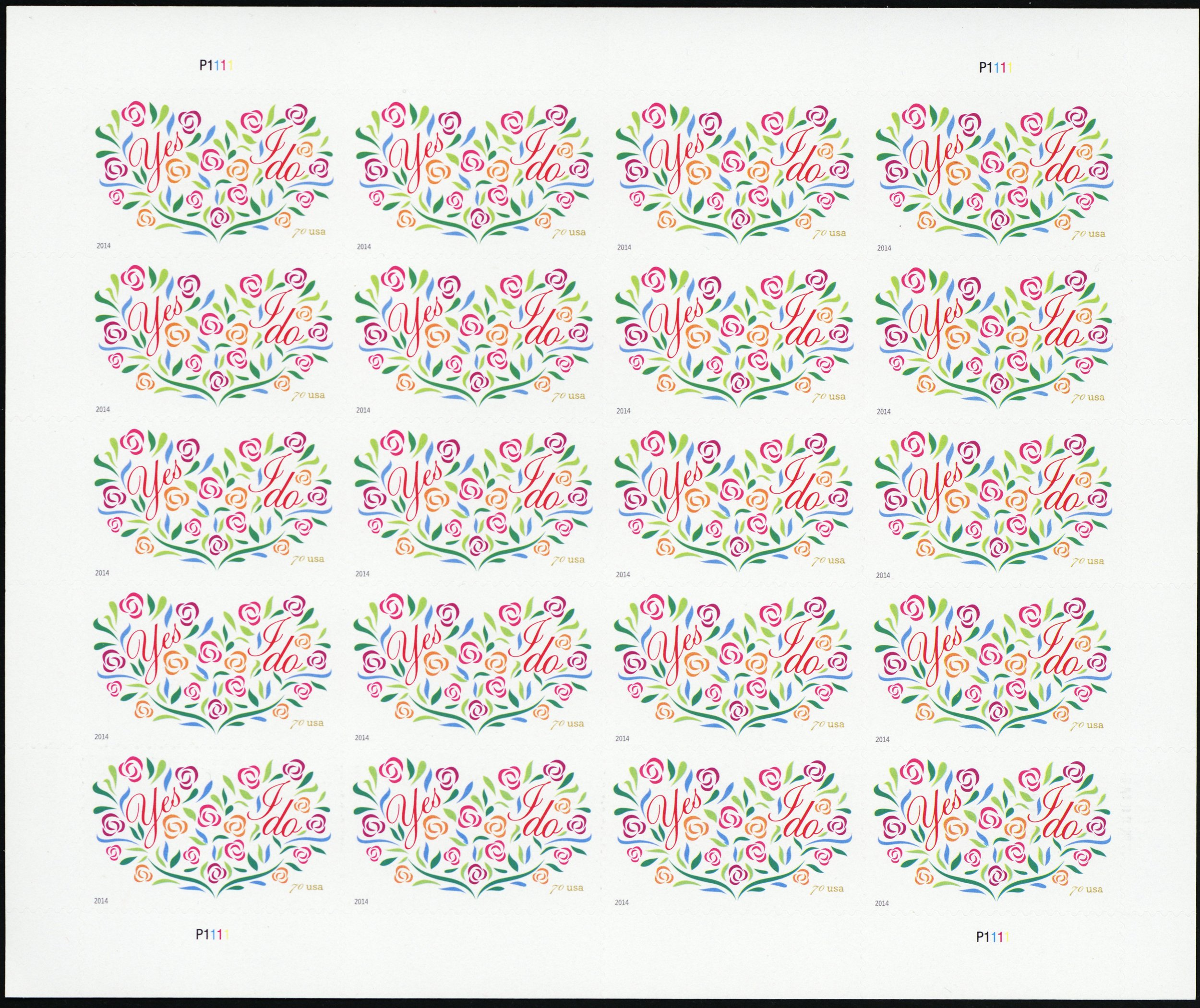 2014 Yes I Do 70 Cent 2 Ounce Rate Sheet 20 Twenty Stamps Scott 4881 By USPS