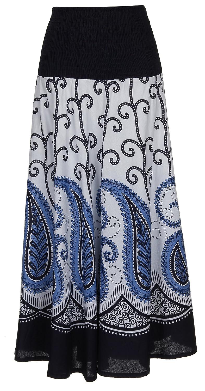 67ecc7feac1 Gorgeous Ladies 100% Cotton Paisley Print 2 in 1 Lined Summer Dress Maxi  Skirt