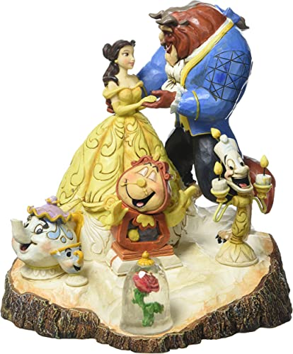 Disney Traditions by Jim Shore Beauty and the Beast Carved by Heart Stone Resin Figurine, 7.75