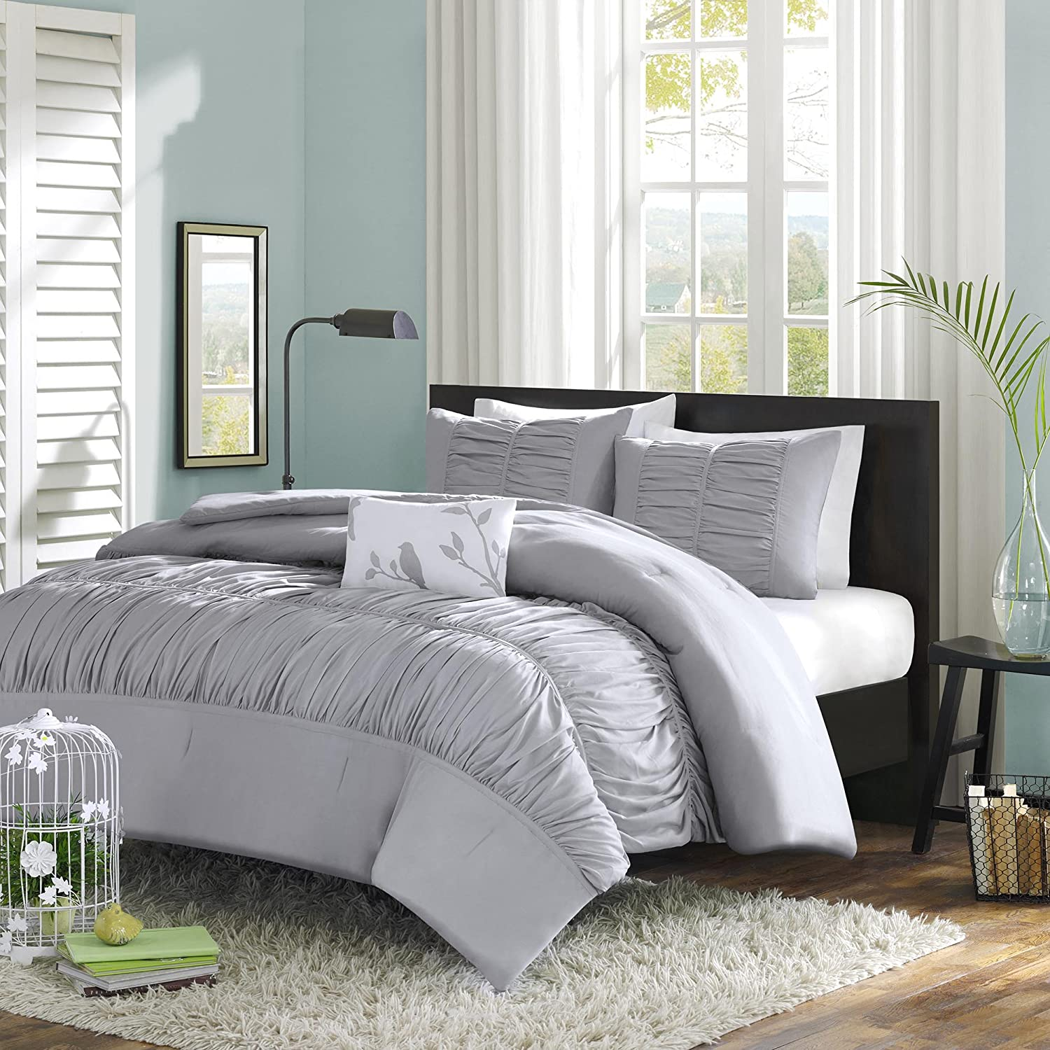 Mizone Mirimar 4 Piece Comforter Set, Full/Queen, Grey