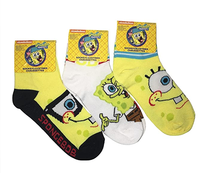Amazon.com: Nickelodeon Sponge Bob Square Pants Youth Ankle Socks - 3 Pair, Size 6-8: Clothing