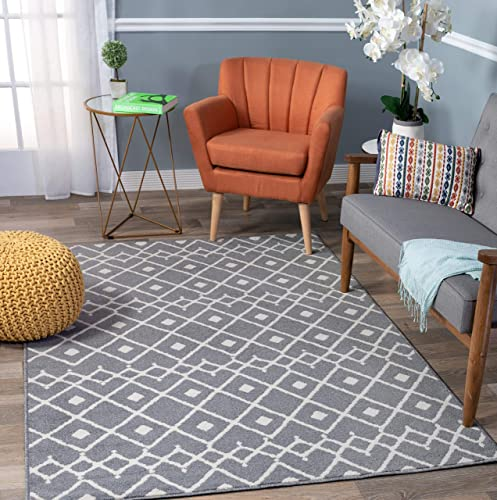 Rugshop Newbury Collection Modern Boho Design Area Rug 5 x 7 Gray