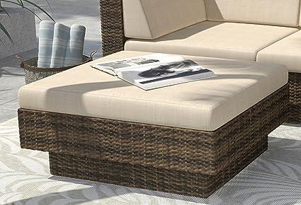Amazon Com Sun Inspired Wicker Patio Furniture Ottoman Stool Rattan Coffee Table Veranda Garden Outdoor