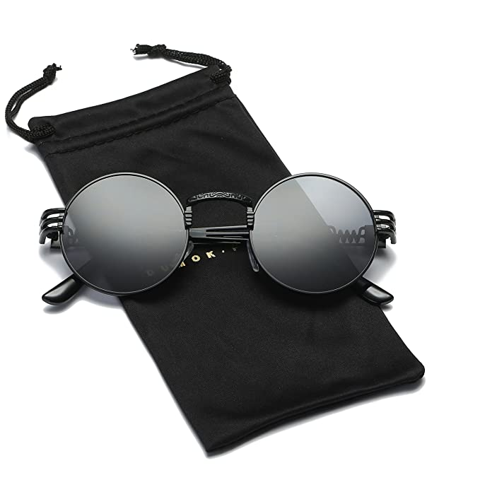 Amazon.com: Dumok DSR007 - Gafas de sol redondas (metal ...