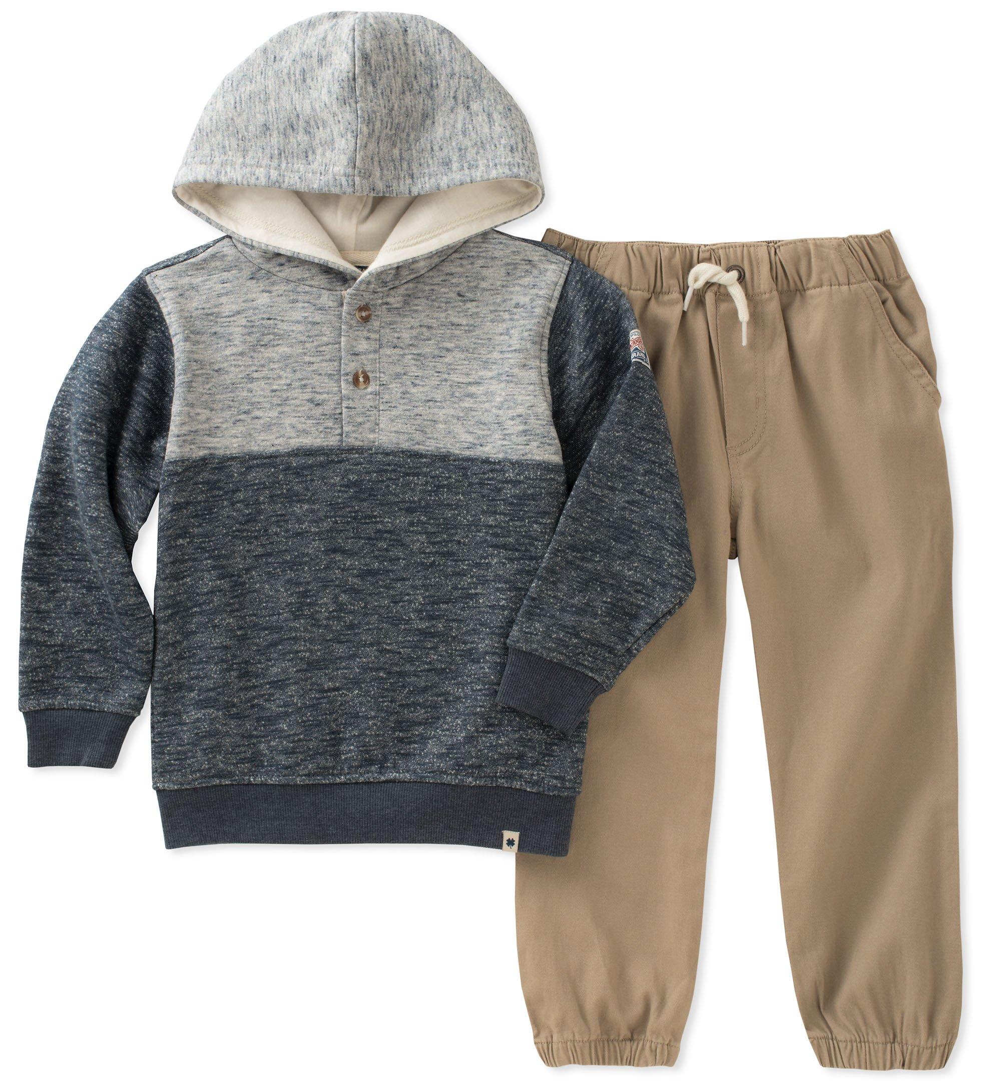 Lucky Brand Little Boys' Pant Set, Light Blue Marle/Dark Blue Marle/Silver Mink, 6