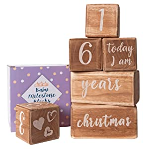 Baby Monthly Milestone Blocks - 6 Blocks, The Most Complete Set, Baby Photography Props for Social Media, Rustic Baby Nursery Decor (Light Brown)