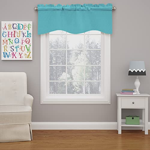 ECLIPSE Kendall Solid Scalloped Window Valance Curtains, 42 x 18 , Turquoise