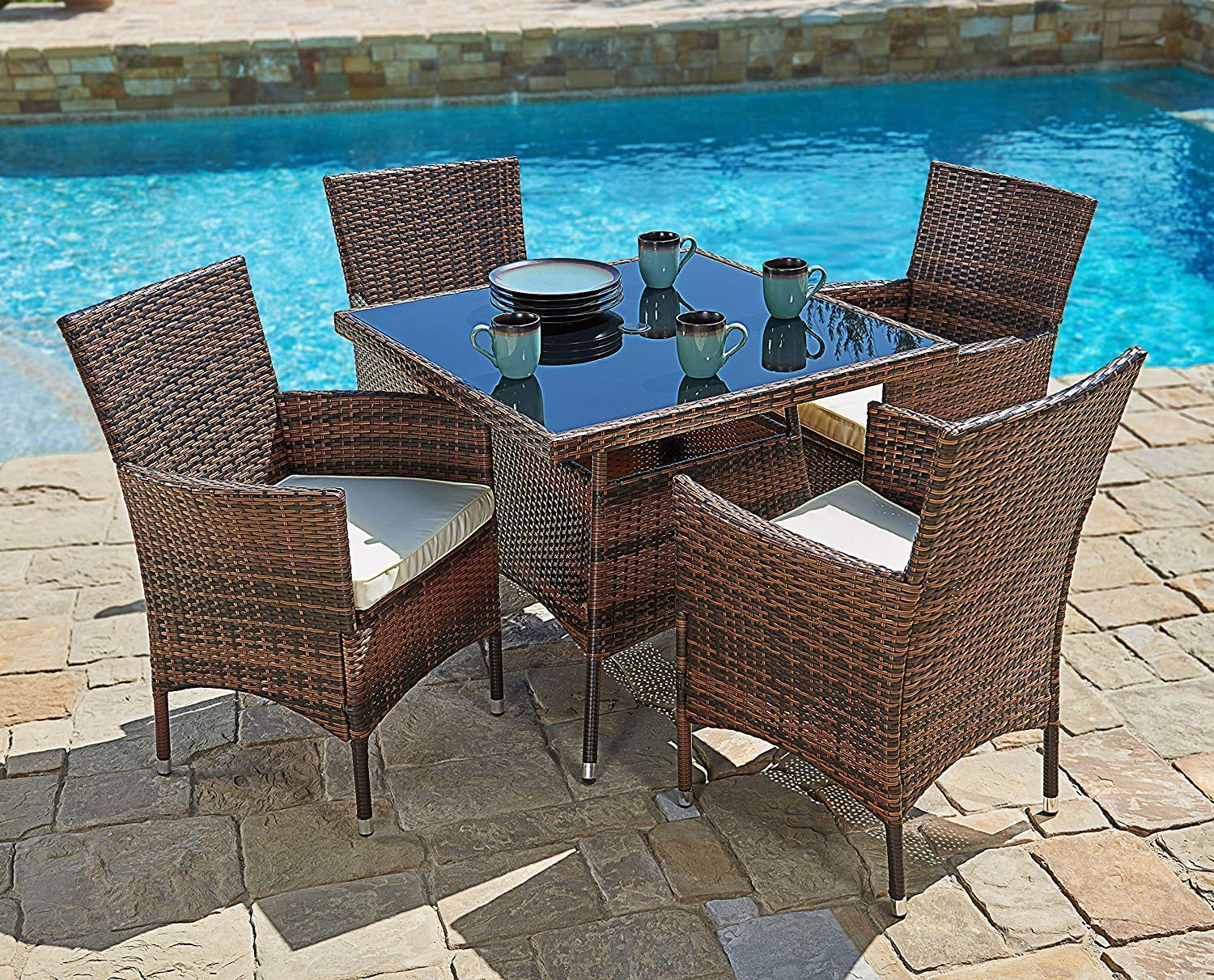 Suncrown outdoor dining set brown wicker furniture 5 piece square dining table and chairs w washable cushions patio backyard porch garden
