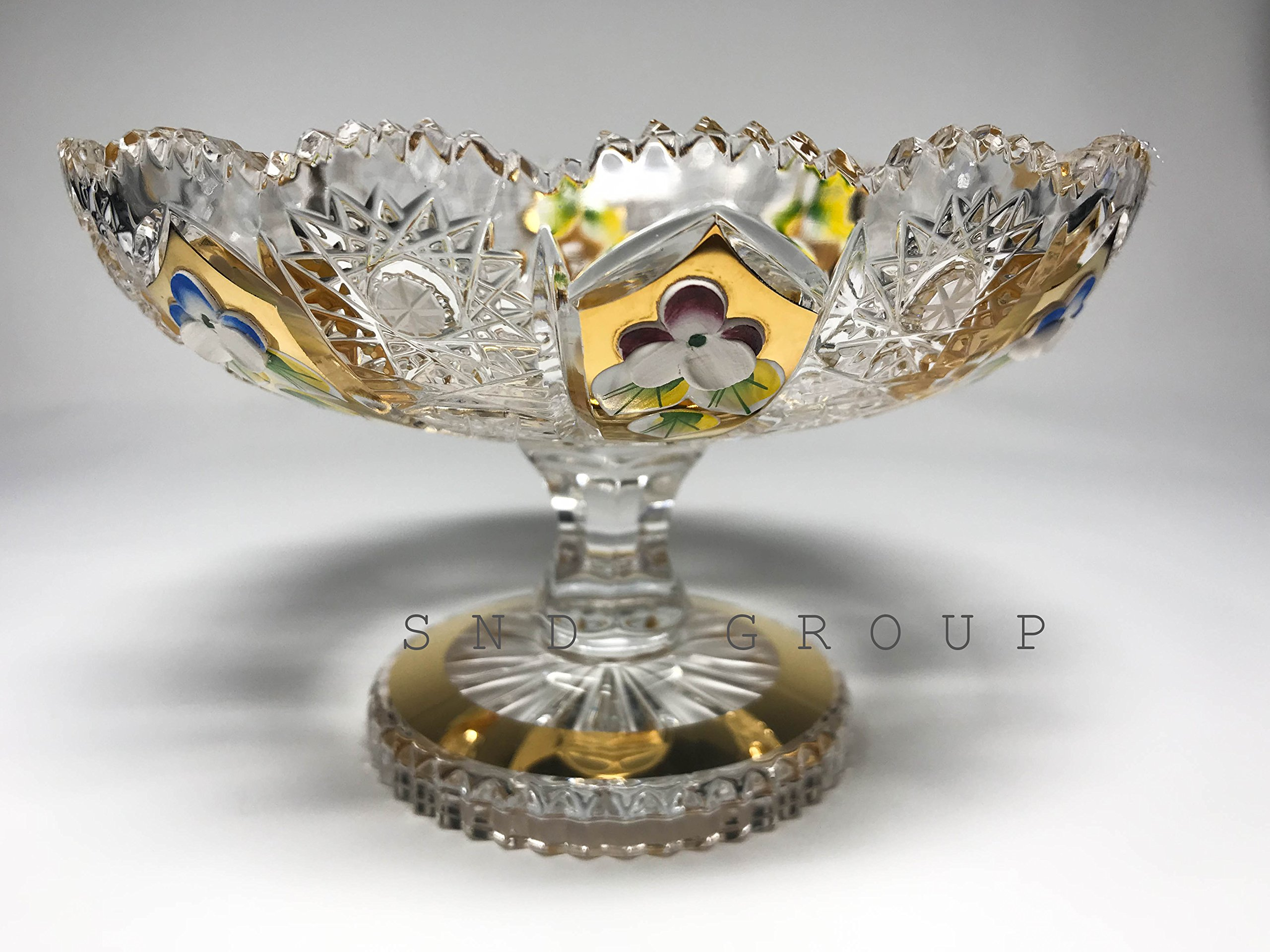 BOHEMIAN CRYSTAL GLASS FOOTED BOWL-VASE D-6'' HAND CUT HAND DECORATED WEDDING GIFT GOLD PLATED VINTAGE EUROPEAN DESIGN ELEGANT CENTERPIECE DISH FRUITS DESSERTS CANDIES CLASSIC CZECH CRYSTAL GLASS