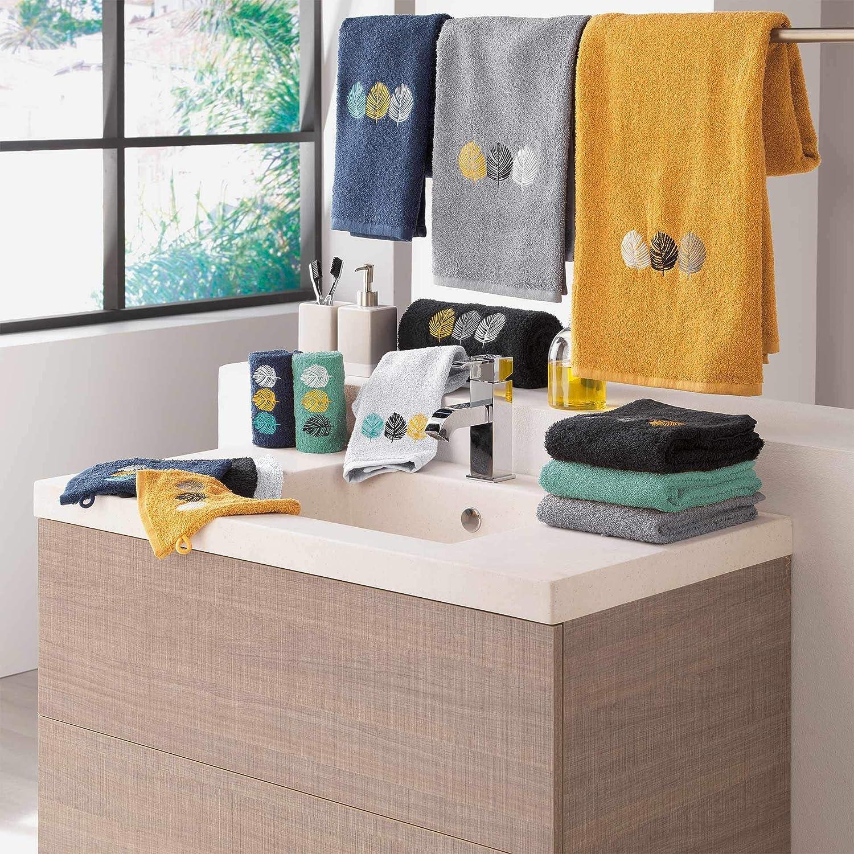 douceur dint/érieur drap de bain 90 x 150 cm eponge brodee fougerys noir
