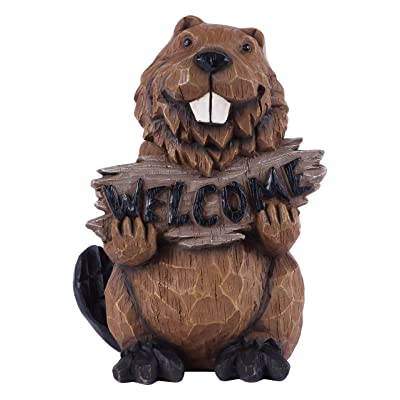 Beaver Holds Welcome Sign Statue : Garden & Outdoor