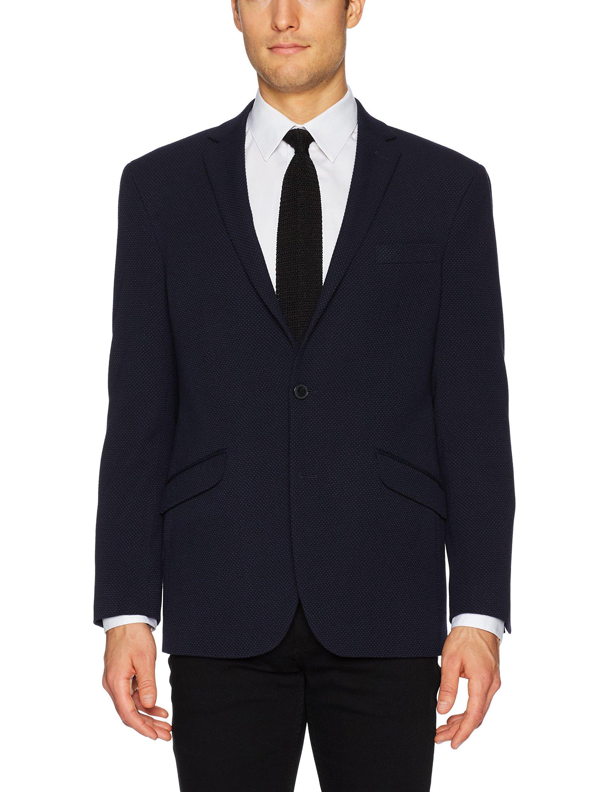 Kenneth Cole REACTION Men's Slim Fit Knit Blazer, Dark Black, 40 Long