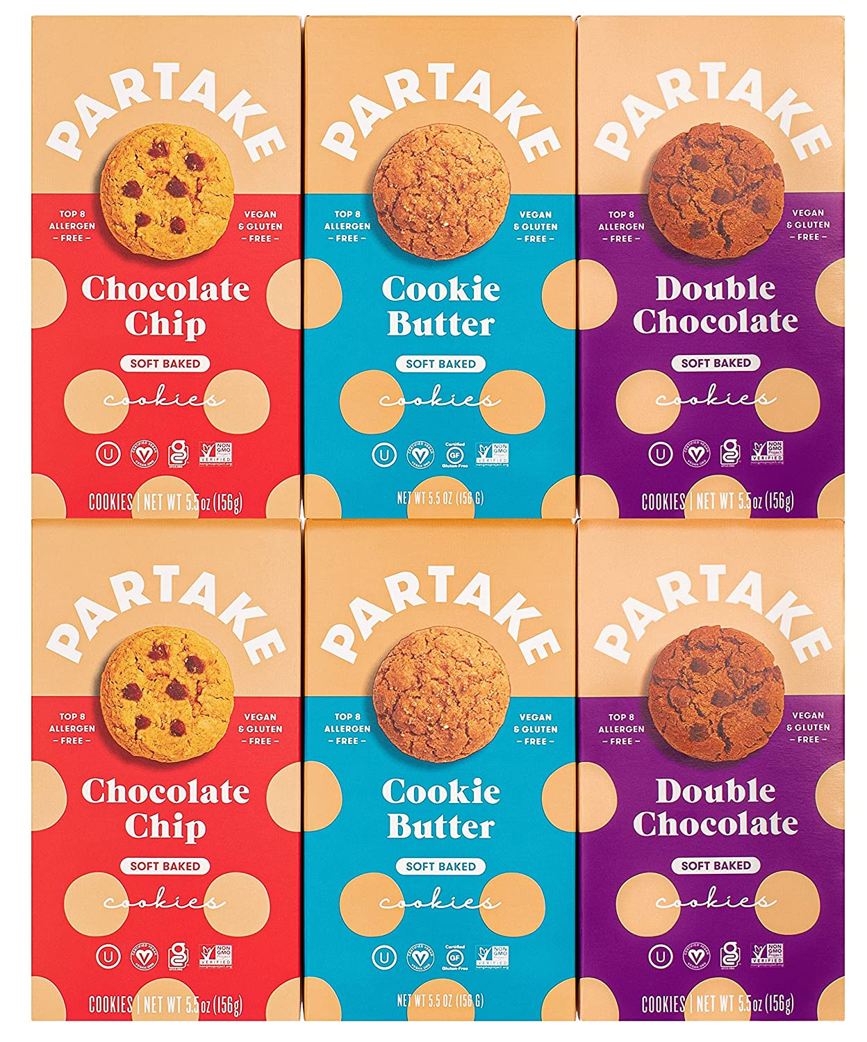 Partake Foods Soft-Baked Vegan Cookies – 6 Box Variety Pack Vegan & Gluten Free Dairy Free, Nut Free, Egg Free, Wheat Free, Soy Free, Fish Free   Allergy Friendly Cookies Safe School Snack for Kids