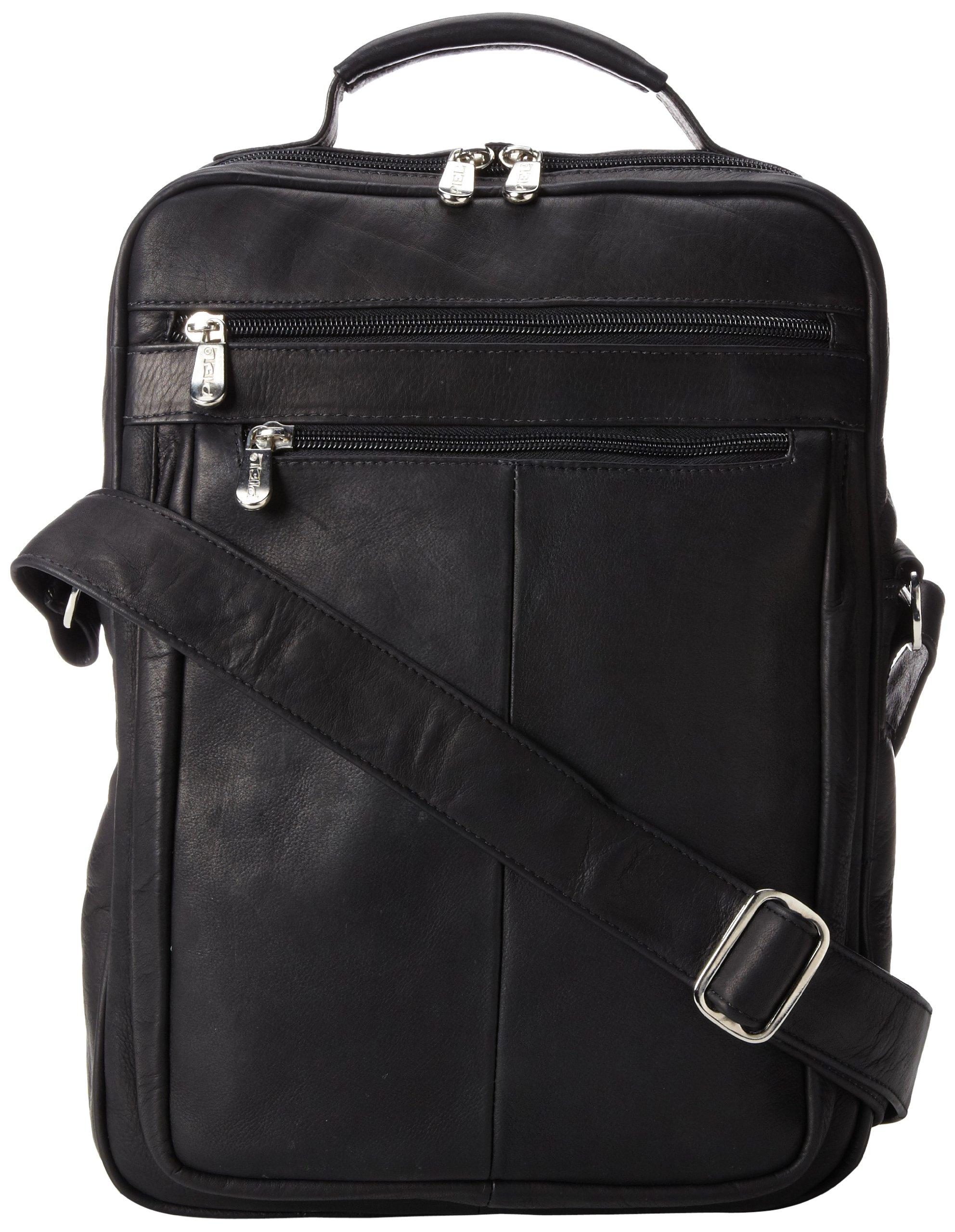 Piel Leather Laptop Shoulder Bag, Black, One Size