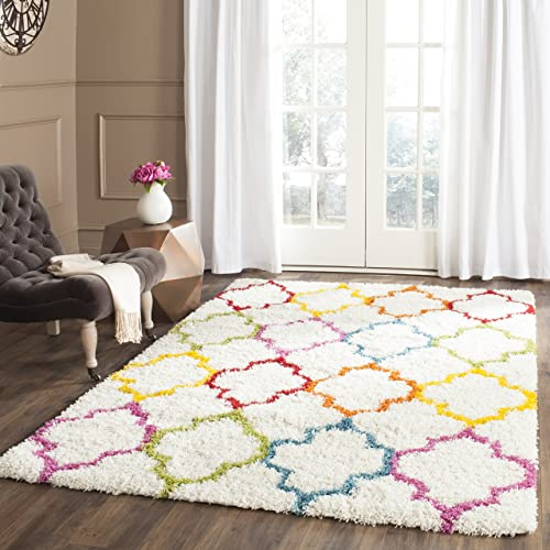 Safavieh Kids Shag Collection SGK569A Ivory and Multi Area Rug 3 x 5