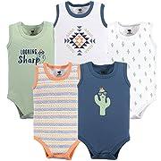 Hudson Baby Unisex Baby Sleeveless Cotton Bodysuits, Cactus 5-Pack, 0-3 Months (3M)