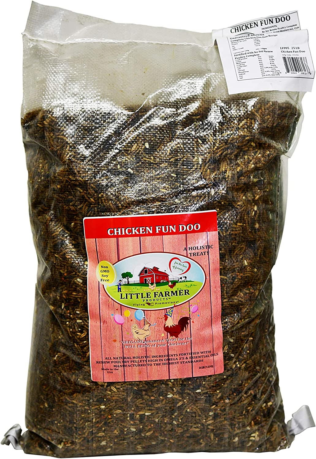 LITTLE FARMER PRODUCTS Chicken Fun-DOO Non-GMO, Soy-Free Chicken Treat | Premium Poultry Meal Worm, Vegetable & Herb Mix (25lbs)…