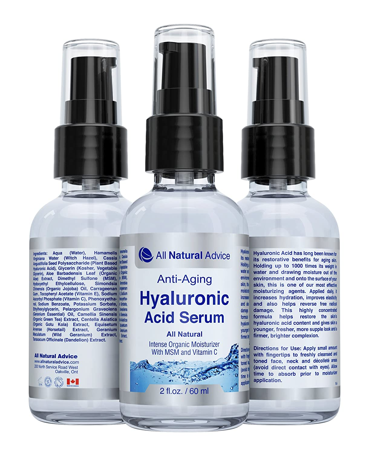 Pure Hyaluronic Acid Moisturizing Serum | Anti-Aging | Canadian Made | Organic | Anti-Wrinkle Skin Care Supplement with Vitamin C Serum & Intense Organic Moisturizer Serum with MSM and Green Tea | Restore the skin's hyaluronic acid content and give ski
