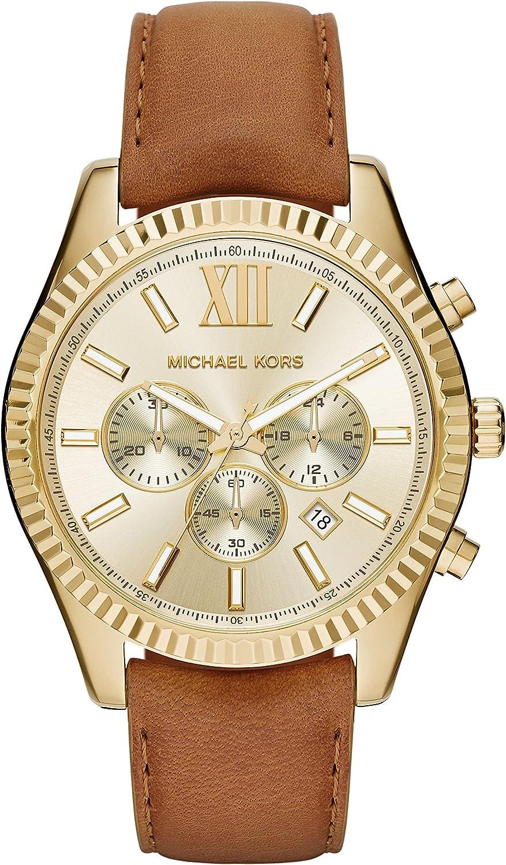 Michael Kors Women s Goldtone Lexington Watch with A Luggage Strap