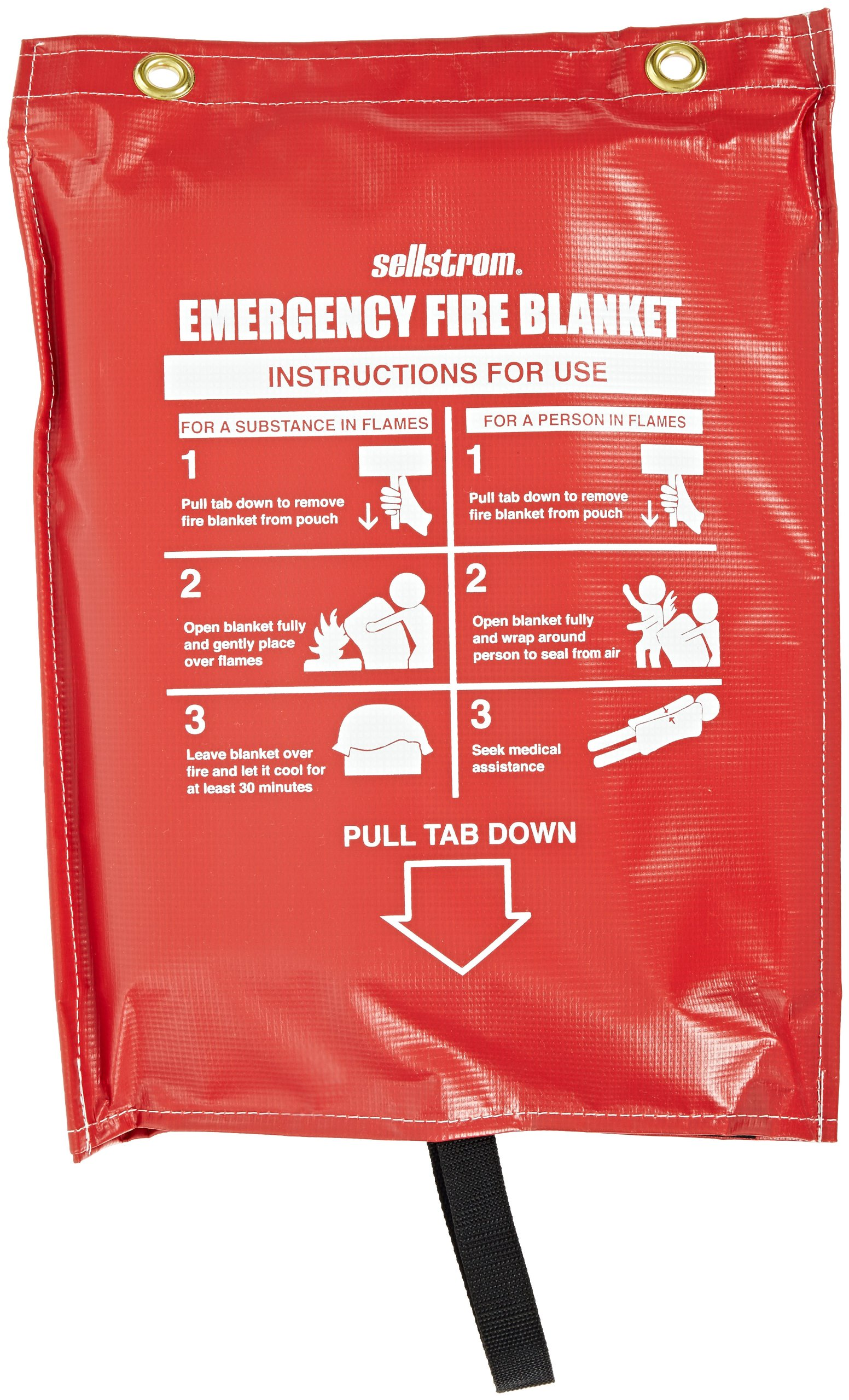 Sellstrom S97450 Fiberglass, Emergency High Temperature Fire Blanket (1,000 Deg F) with Red Vinyl Hanging Pouch, 6' Length x 5' Width, White