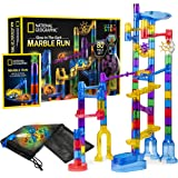 NATIONAL GEOGRAPHIC Glowing Marble Run – 80 Piece Construction Set with 15 Glow-in-The-Dark Glass Marbles, Mesh Storage…