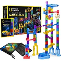NATIONAL GEOGRAPHIC Glowing Marble Run – 80 Piece Construction Set with 15 Glow-in-The-Dark Glass Marbles, Mesh Storage Bag and Marble Pouch, Great Creative STEM Toy for Girls and Boys, Multicolor