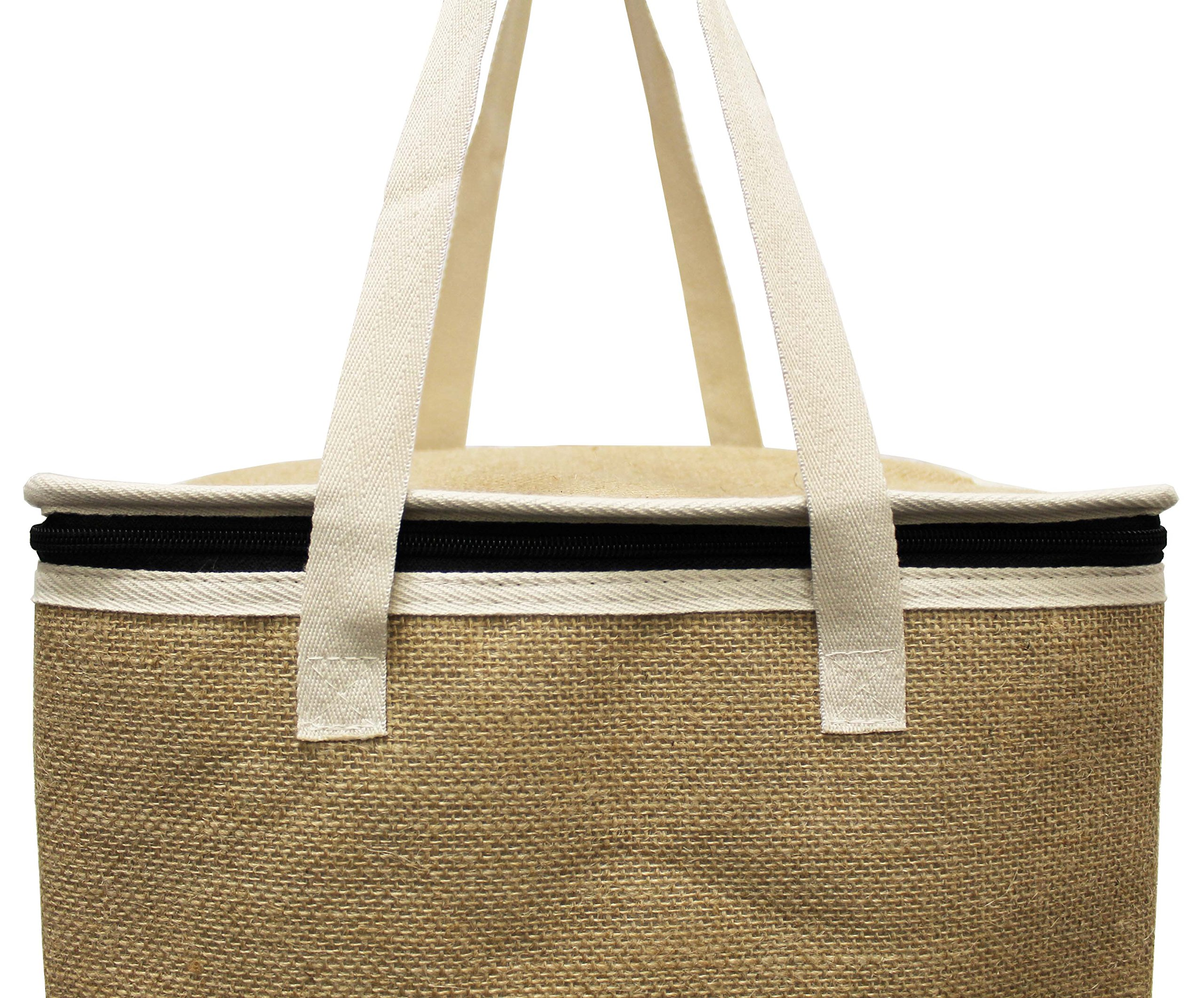 Earthwise Large Jute Insulated Shopping Grocery Bags w ZIPPER TOP LID Thermal Cooler Tote KEEPS FOOD HOT OR COLD (Set of 2) by Earthwise (Image #1)
