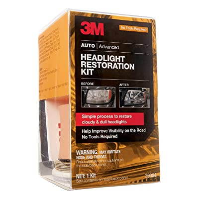 3M Headlight Restoration Kit, Simple Process to Restore Cloudy & Dull Headlights, Hand Application, 1 Kit (39084): Automotive