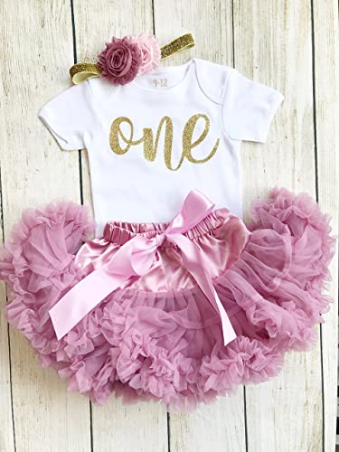 b5d75894f0 Dusky Pink & Gold 1st Birthday Baby Girl First Tutu Outfit Dusty Rose  Glitter Number 1st
