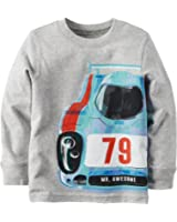 """Carter's Boy's Long Sleeve """"Mr. Awesome"""" Graphic Tee; Grey"""