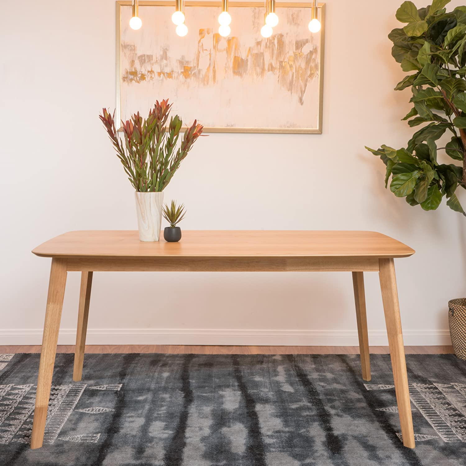 Amazon com anne natural oak finish wood dining table tables