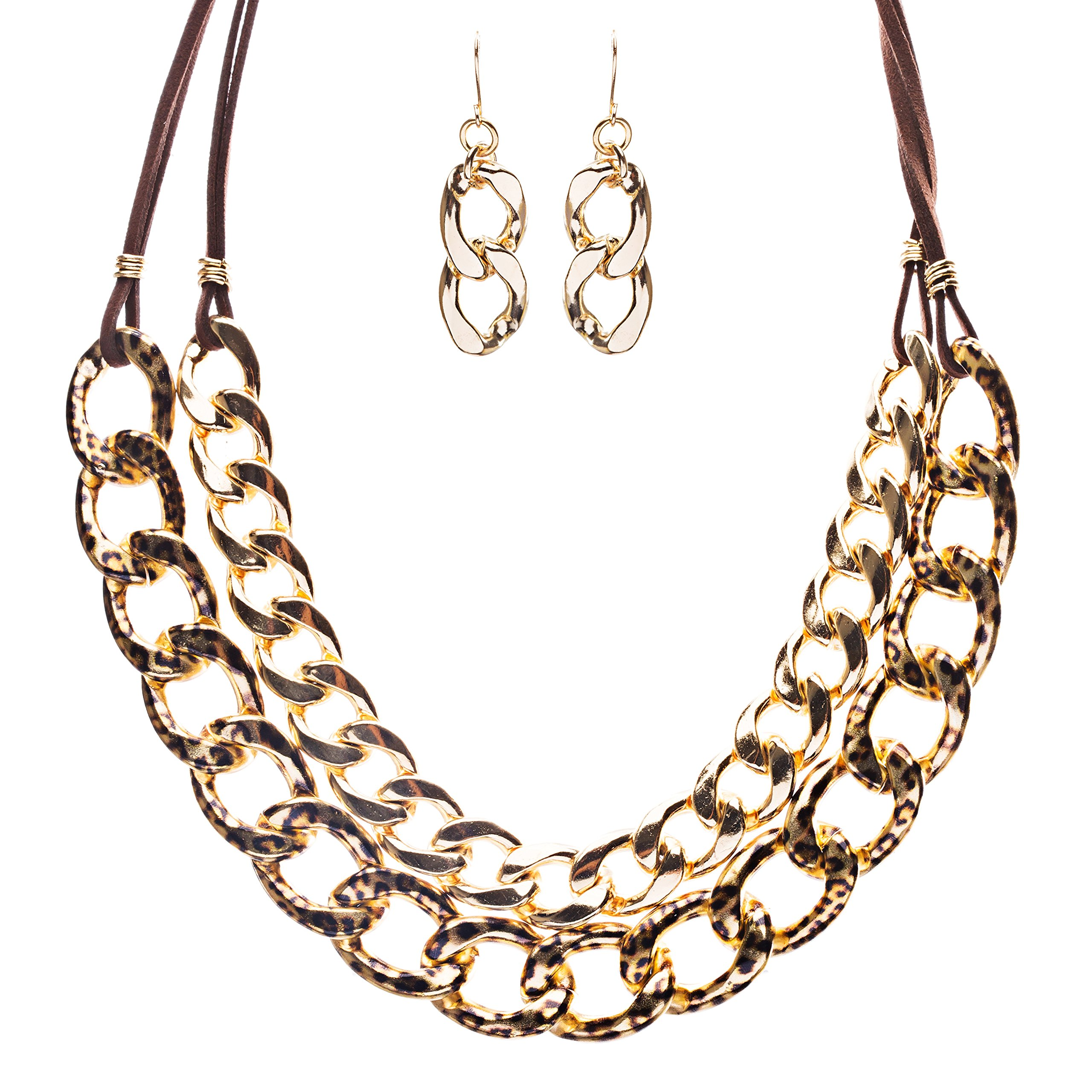 Modern Fashion Dainty Gold Plate Chain And Faux Leather Necklace Set JN226 Brown