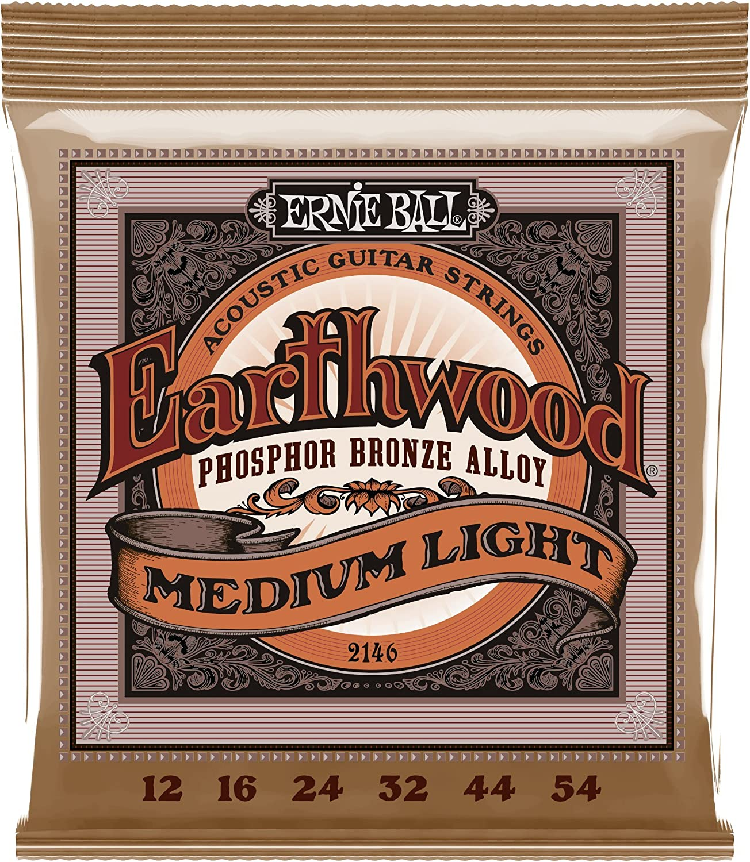 Cuerdas para guitarra acústica de bronce fosforado medio Ernie Ball Earthwood - calibre 12-54