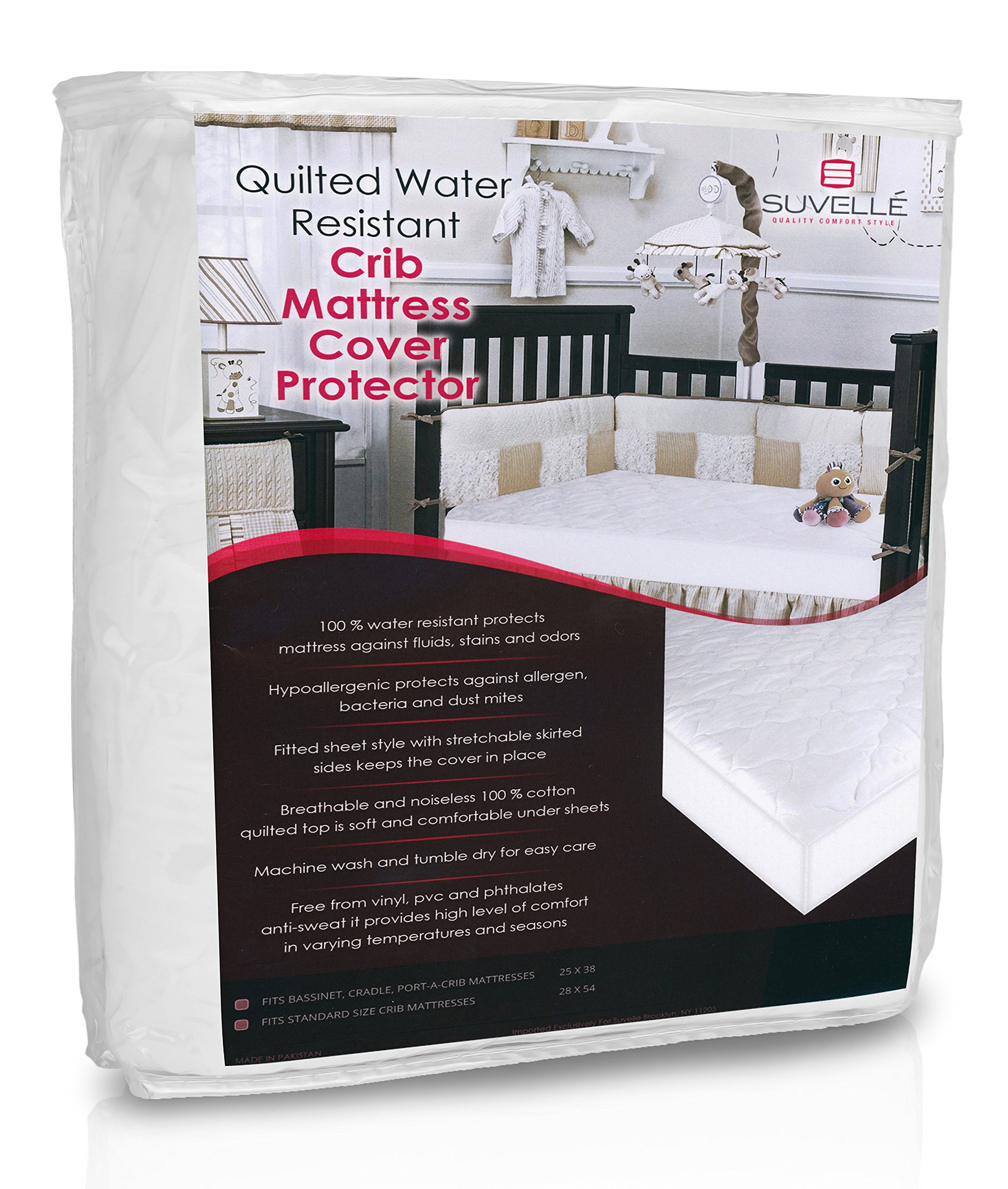 Suvelle Hypoallergenic Water Resistant Mattress Pad Cover, Fitted Quilted Baby Crib and Toddler Protector, Comfy, Soft and Breathable Cotton, Size 25 X 38
