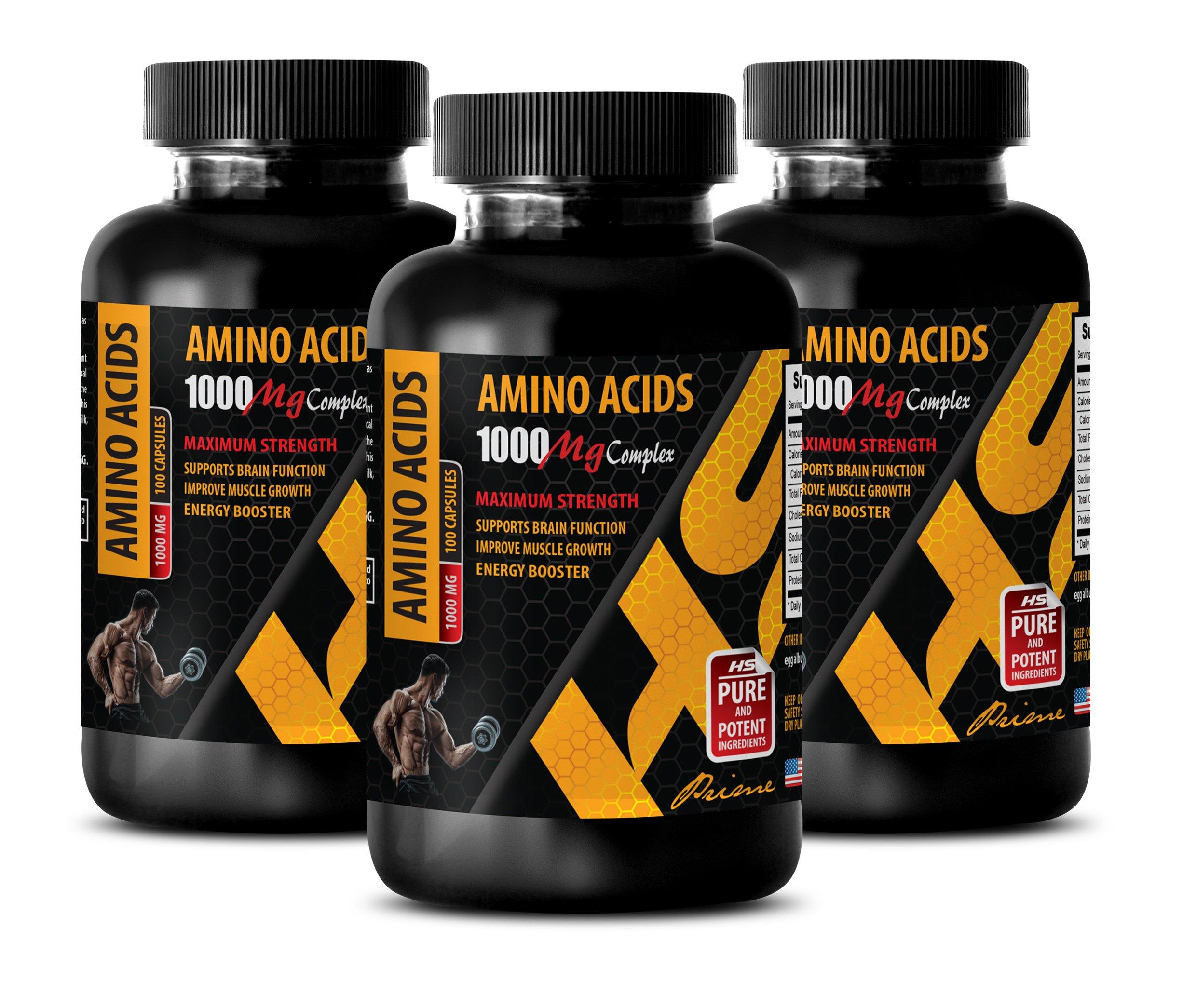 Bodybuilding Vitamins - Amino Acids 1000 mg Complex - Extra Strength - l-Lysine Capsules - 3 Bottles 300 Capsules