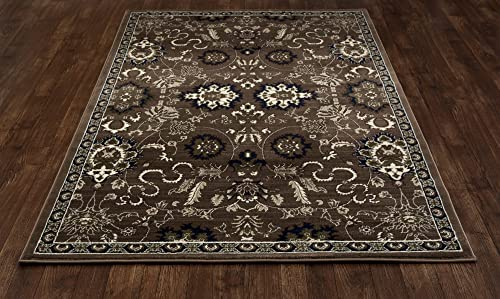 Art Carpet Arbor Collection Bouquet Woven Area Rug, 9 x 12 , Brown Linen