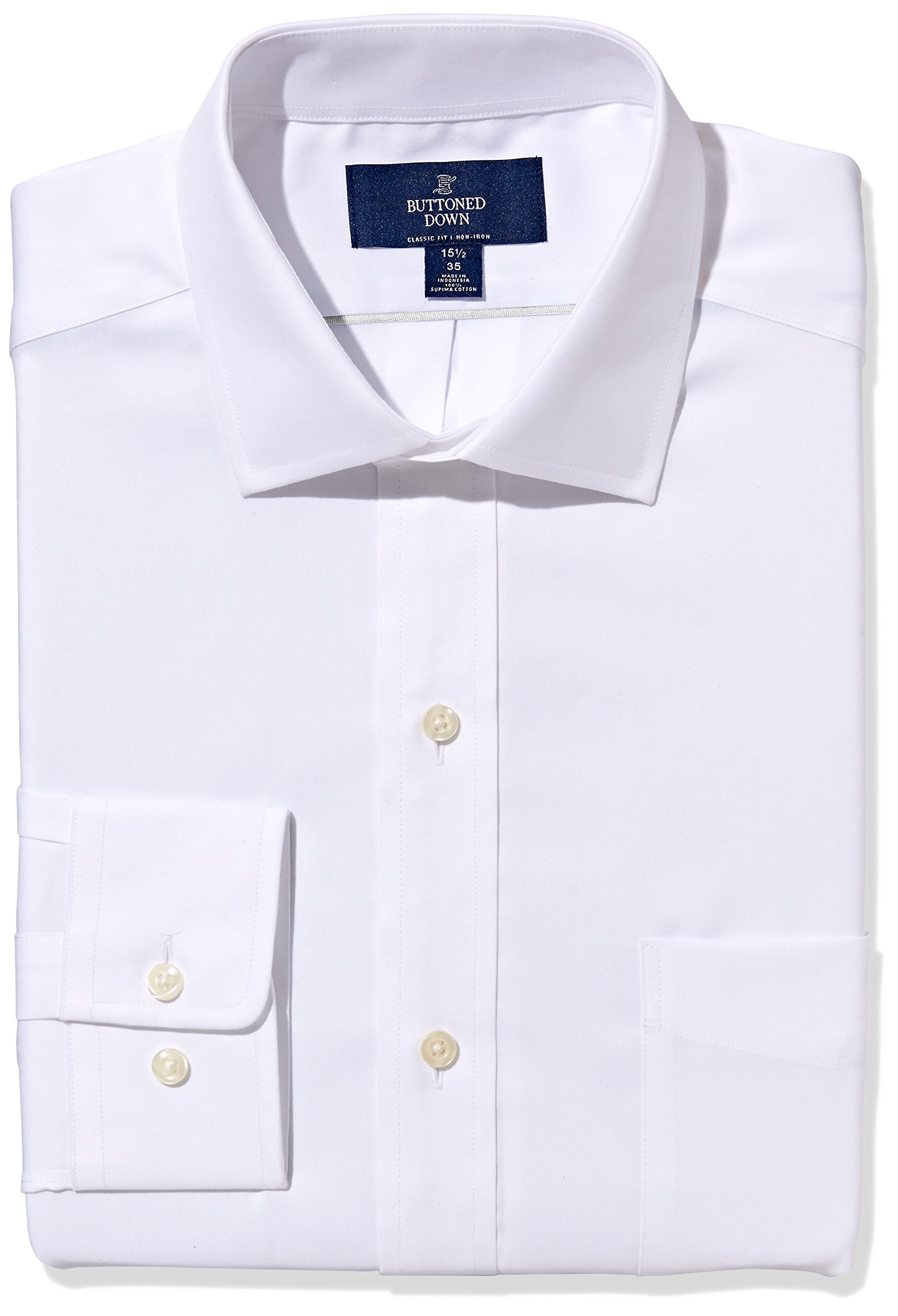 Buttoned Down Men's Classic Fit Spread-Collar Non-Iron Dress Shirt (Pocket), White, 17'' Neck 34'' Sleeve by Buttoned Down