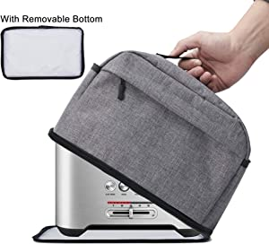 BGD-DG 2 Slice Toaster Cover with Removable Bottom 2-in-1 Toaster Bag with Zipper & Open Pockets Toaster Storage Bag with Handle, Dust and Fingerprint Protection, Machine Washable, Gray