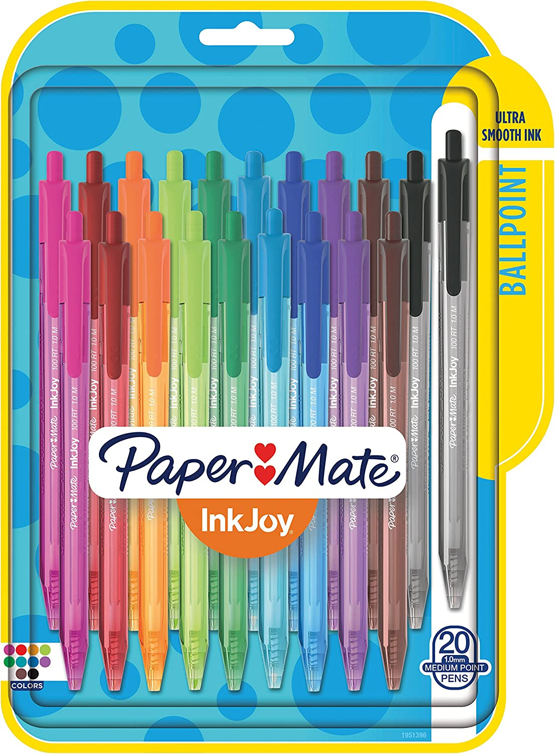 Paper Mate InkJoy 100RT Retractable Ballpoint Pens, Medium Point, Assorted, 20 Pack (1951396) : Office Products