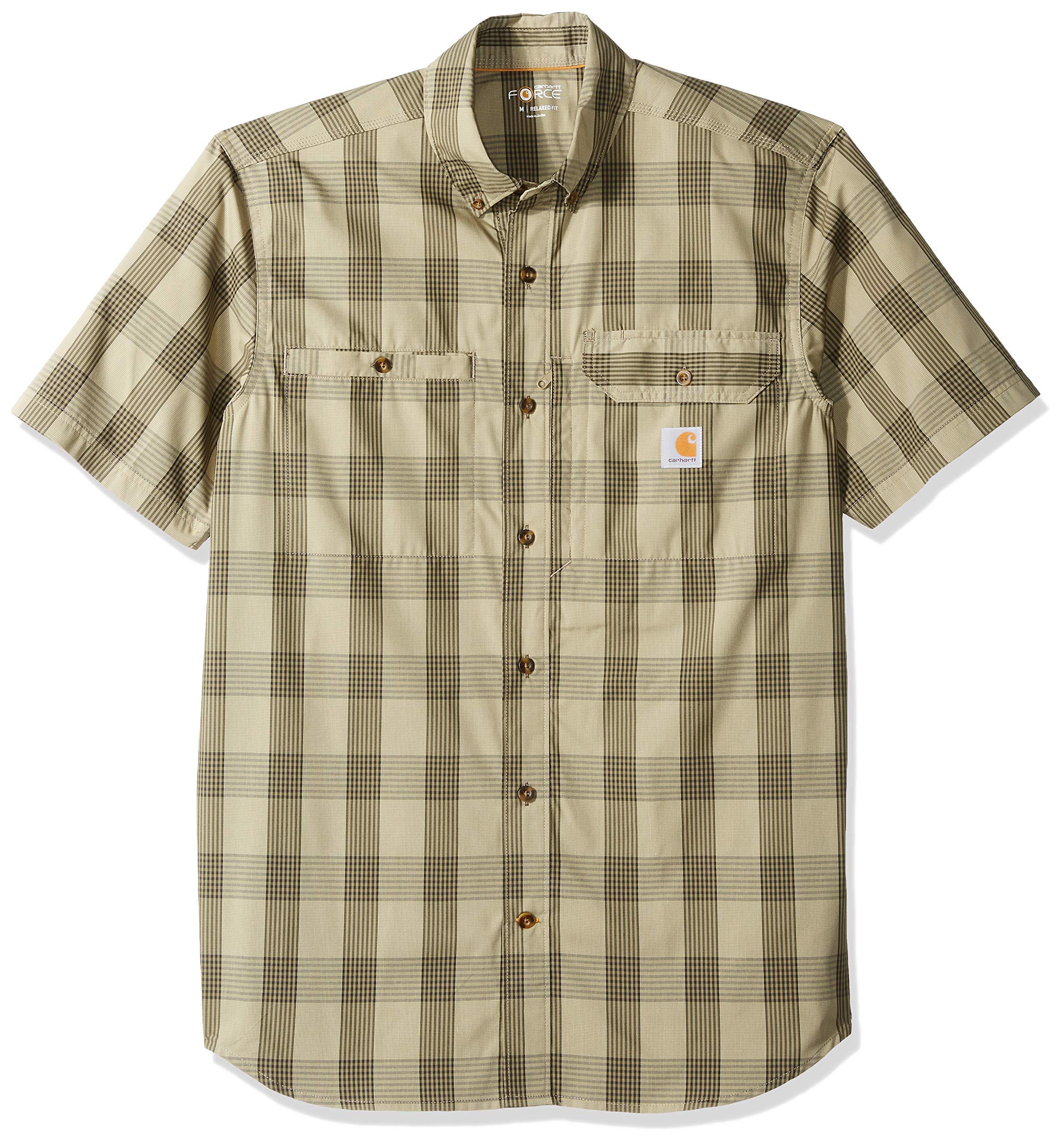 Carhartt Men's Force Plaid Ridgefield Short Sleeve Shirt (Regular and Big & Tall Sizes), Burnt Olive, X-Large
