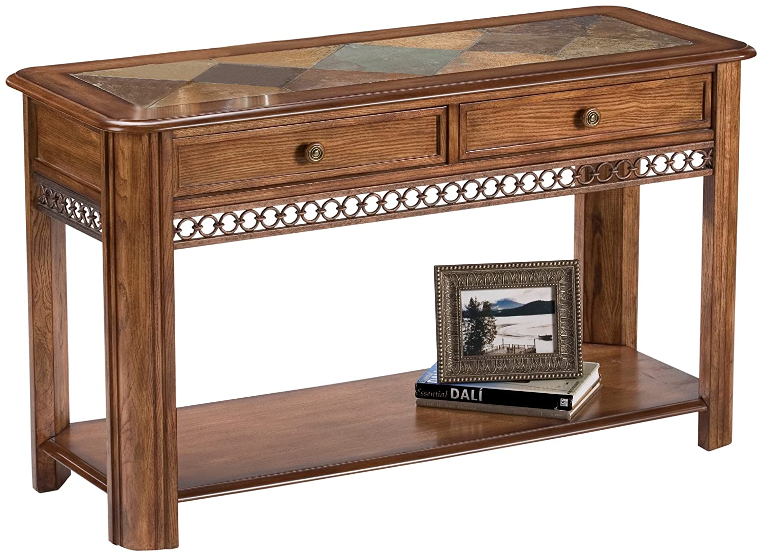 100 End Table With Wood Slate Strut Square