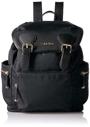 41c2efc94 Amazon.com: Calvin Klein Belfast Nylon Buckle Backpack, Black/Gold ...