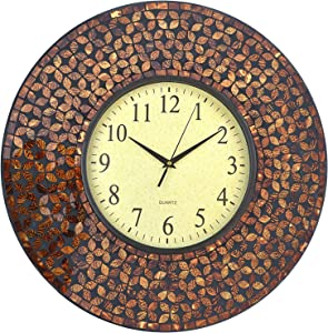 "Lulu Decor, 19"" Amber Flower Mosaic Wall Clock with Black Cement, Arabic Number Glass Dial 9.5"" for Living Room & Office Space (LP75)"