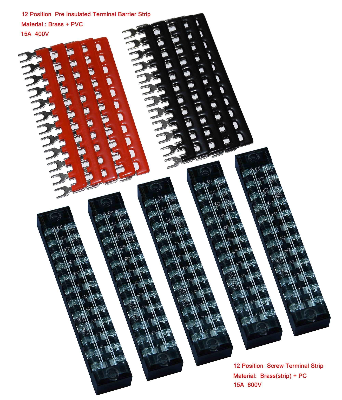 5 Pcs Dual Row 12 Position Screw Terminal Strip 600V 15A + 400V 15A 12 Postions Pre Insulated Terminal Barrier Strip Red /Black 10 Pcs