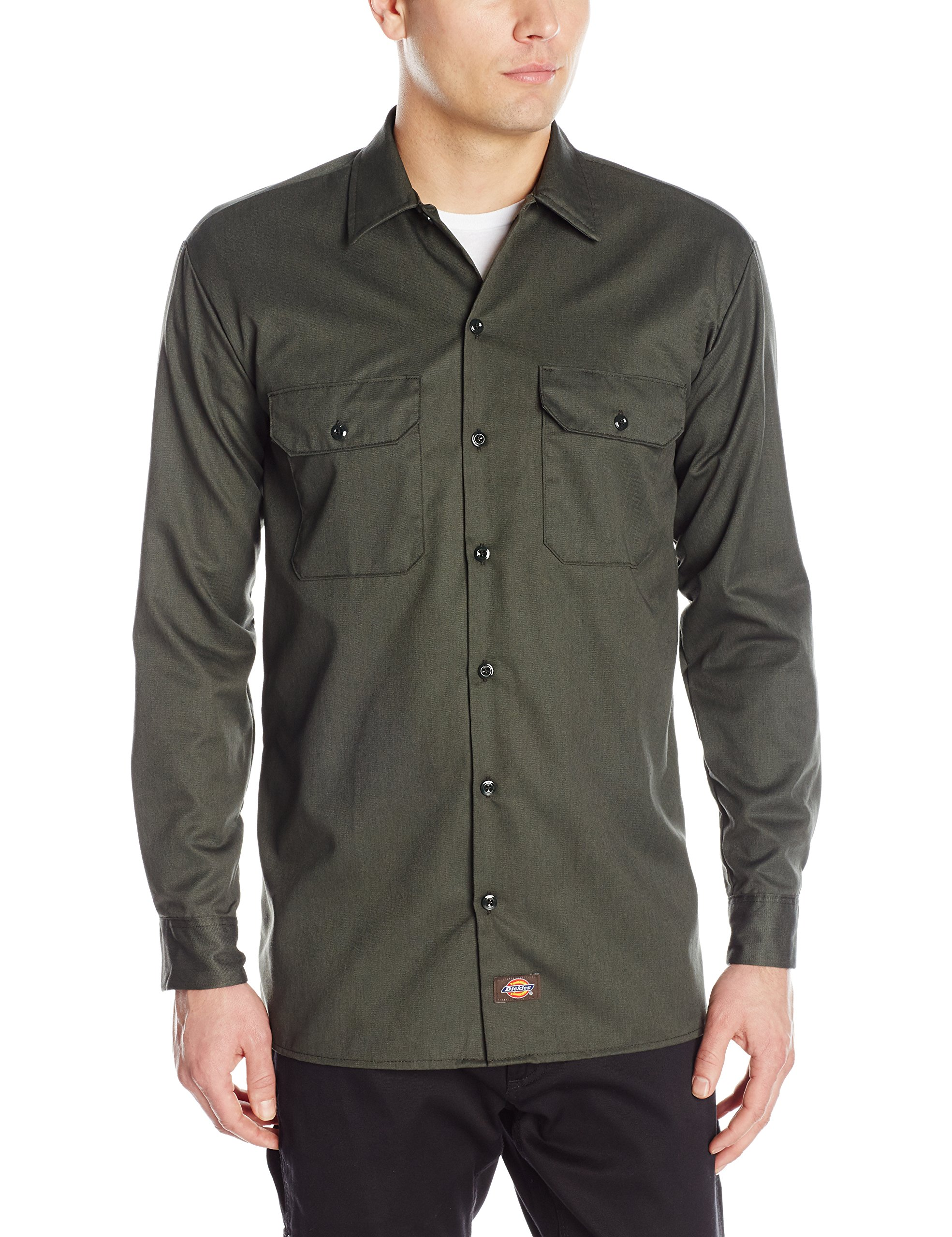 Dickies Men's Long Sleeve Work Shirt, Olive Green, 2X