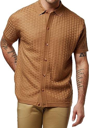 Men's Short Sleeve Knit Sports Shirt - Modern Polo Vintage Classics: Vertical Stripe Color Block